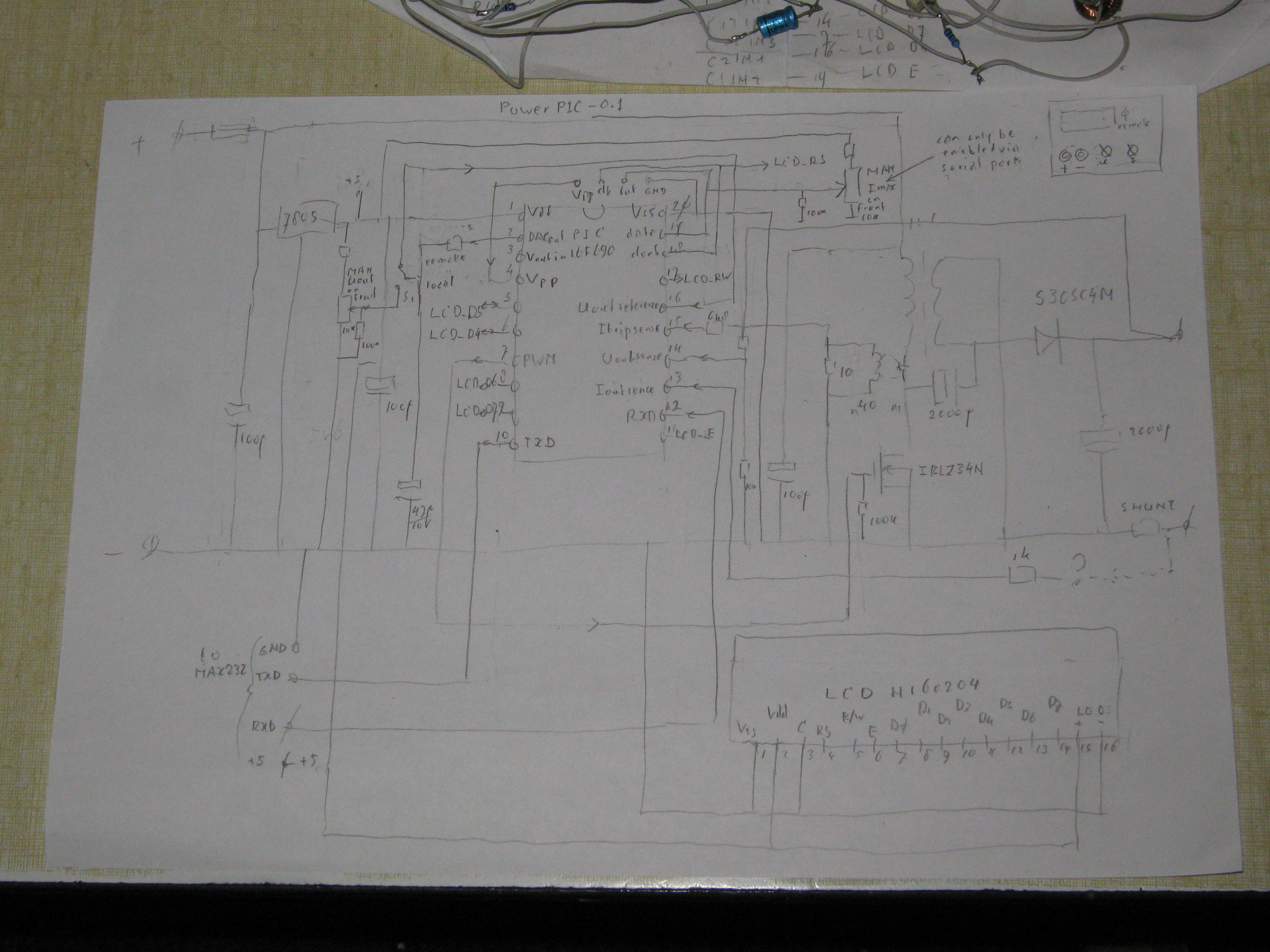 Panteltjes Power Pic Page Discrete Pwm Generator Circuit Here The Drives A 2 X 16 Line Lcd Character Display Showing Output Voltage And Current As Well Watts Time Input